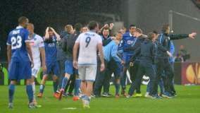 El Dnipro celebra su histórica clasificación a una final de Europa.