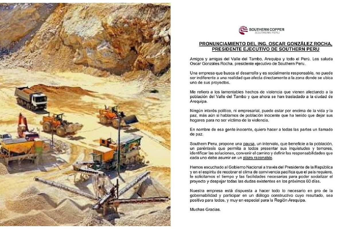 Tía María: Southern hace una pausa en proyecto minero
