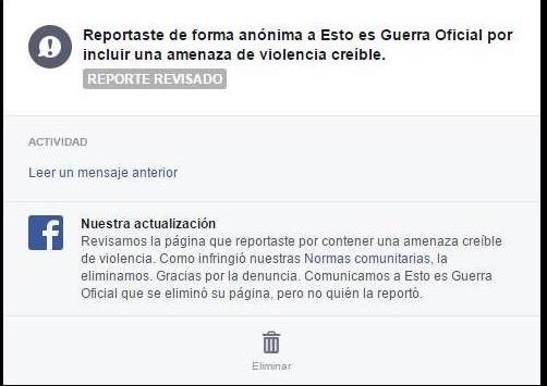 Reporte de Facebook publicado en Twitter