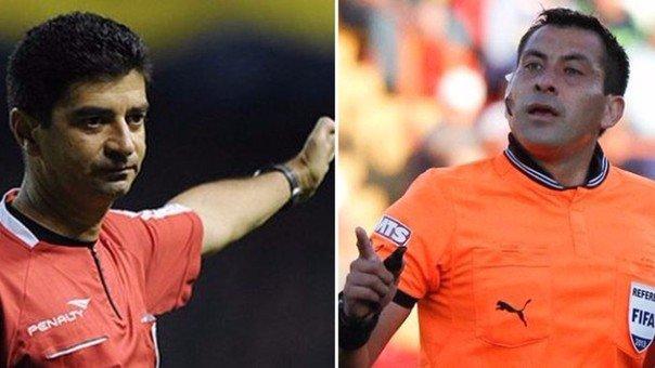 El colombiano Buitrago (camiseta roja) y el chileno Bascuñán (de anaranjado) arbitrarán los próximos encuentros de Perú por las clasificatorias.