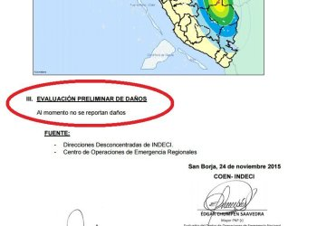 Sismo en Perú, reporte de Indeci