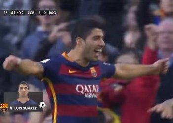Luis Suárez y su gol de tijera ante la Real Sociedad