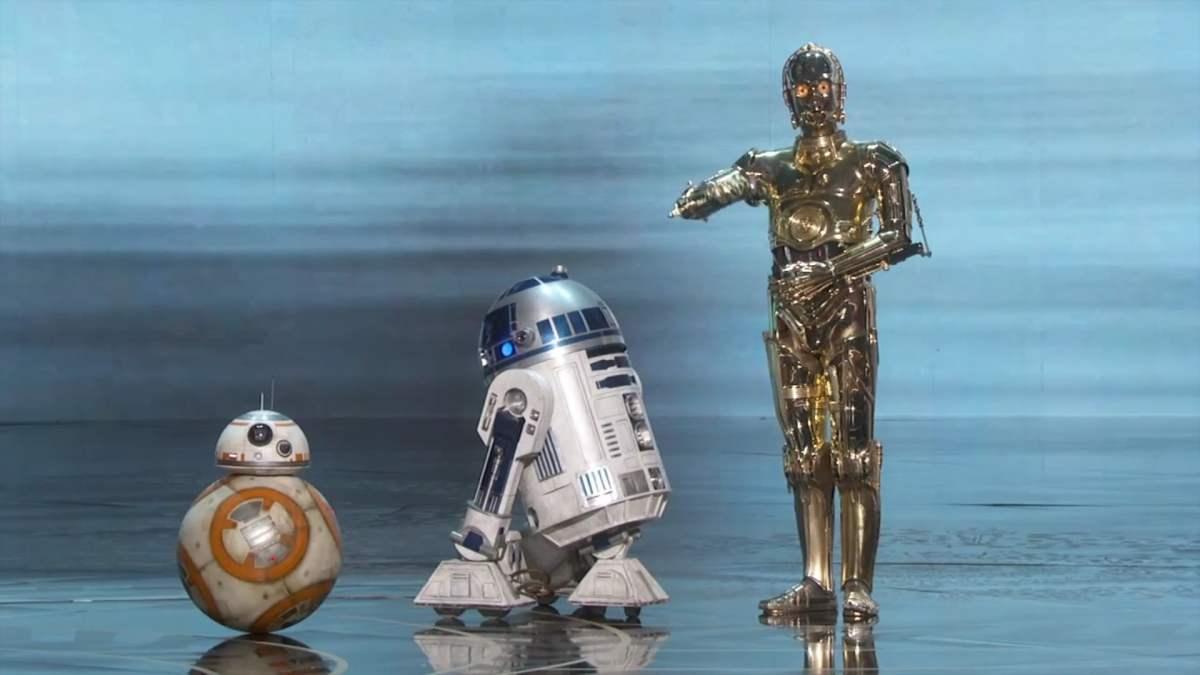 Star Wars: C3PO, R2D2 y BB8 en gala de los Óscar