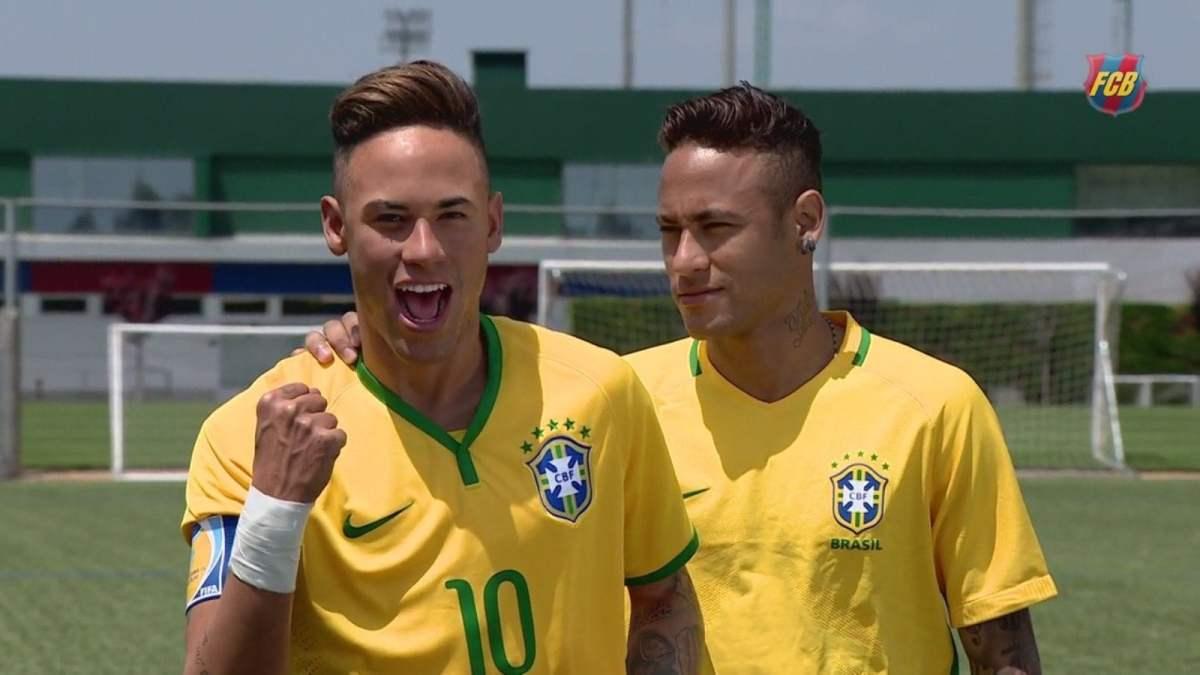 Neymar y su doble (Foto Barcelona FC)