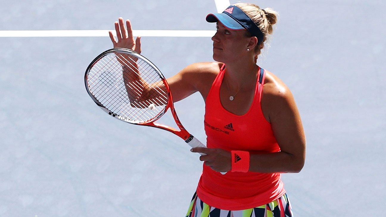 Kerber entrenó en el debut del US Open.