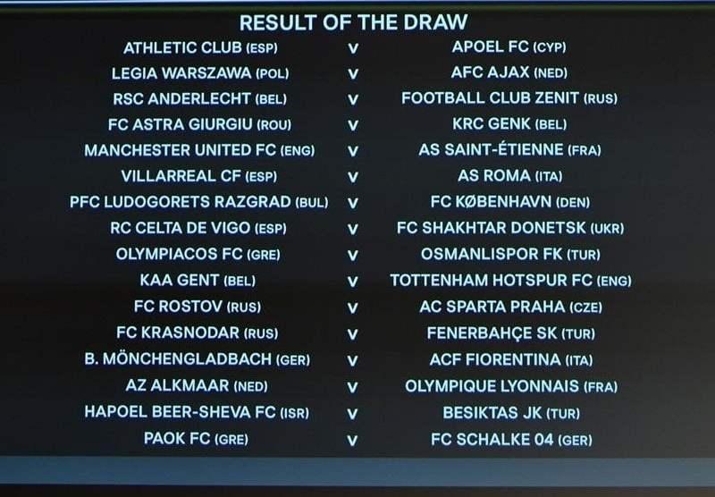 Se sortearon los cruces de los 16vos de final de la Europa League.
