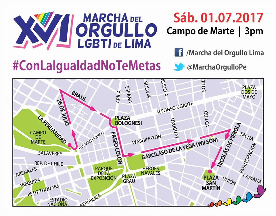 Marcha del orgullo LGTB ruta