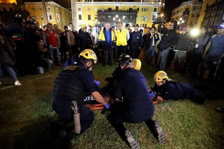 Durante el ejercicio en la Plaza de Armas también participaron la Gerencia de Transportes Urbano, el Ministerio de Salud, el Cuerpo General de Bomberos