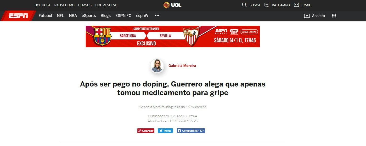 Após ser pego no doping, Guerrero alega que apenas tomou medicamento para gripe