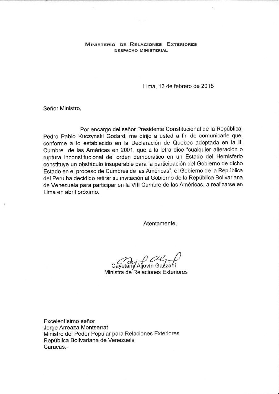 CARTA: Cancillería peruana retira invitación a Nicolás Maduro a Cumbre de las Américas