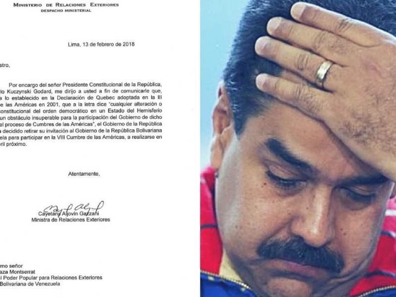 Perú retira invitación a Nicolás Maduro para asistir a Cumbre de las Américas