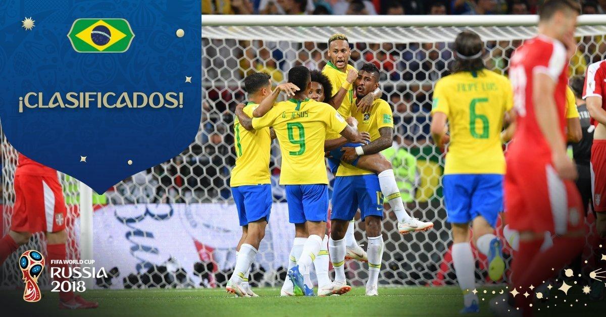 Brasil clasifica a octavos en Rusia 2018