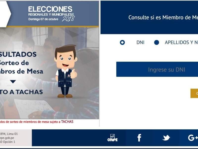 ONPE: consulta aquí si eres miembro de mesa en elecciones municipales 2018