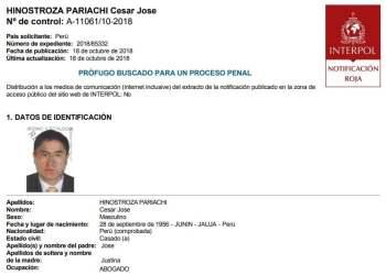 Se activa alerta roja en Interpol para capturar a César Hinostroza