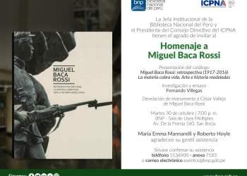 Biblioteca Nacional rendirá homenaje a artista Miguel Baca Rossi
