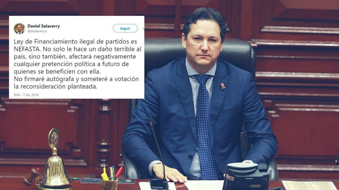"""Daniel Salaverry tildó de """"nefasta"""" ley de financiamiento ilegal de partidos"""