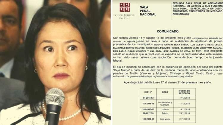 Keiko Fujimori y comunicado del PJ