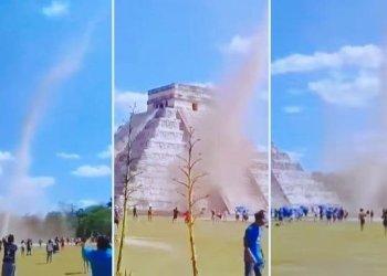 Chichen Itzá: Turistas fueron sorprendidos por pequeño tornado