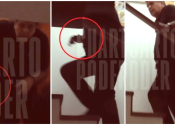 Cámaras captaron a Alan García con un arma en escalera de su casa
