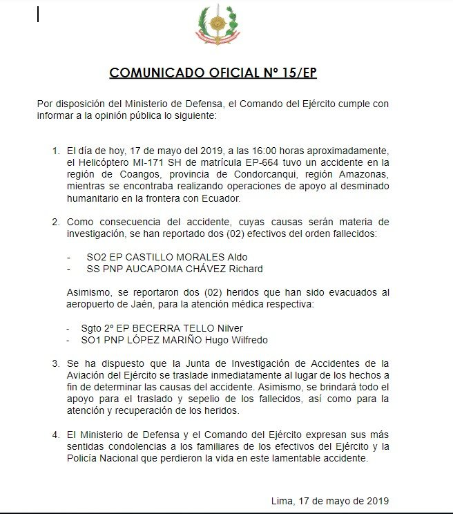 Comunicado sobre accidente de helicóptero