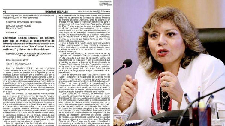 Fiscal Zoraida Ávalos y documento de equipo especial