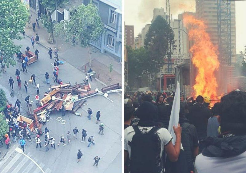 Manifestantes incendian universidad y saquean iglesia en Chile