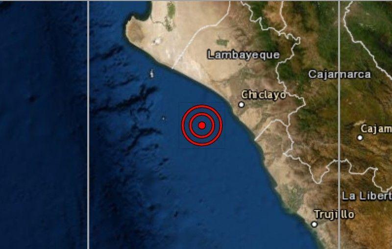Sismo de magnitud 4.3 se registró hoy en Pimentel Chiclayo según IGP