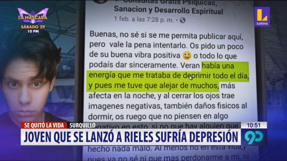 Joven que se lanzó a vías del tren eléctrico sufría de depresión y pidió ayuda en Facebook