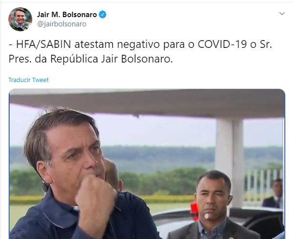 ¡No tiene coronavirus! Jair Bolsonaro, presidente del Brasil, dio negativo a segunda prueba