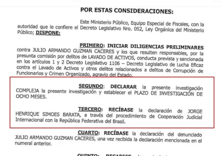 Documento de Fiscalía, caso Julio Guzmán