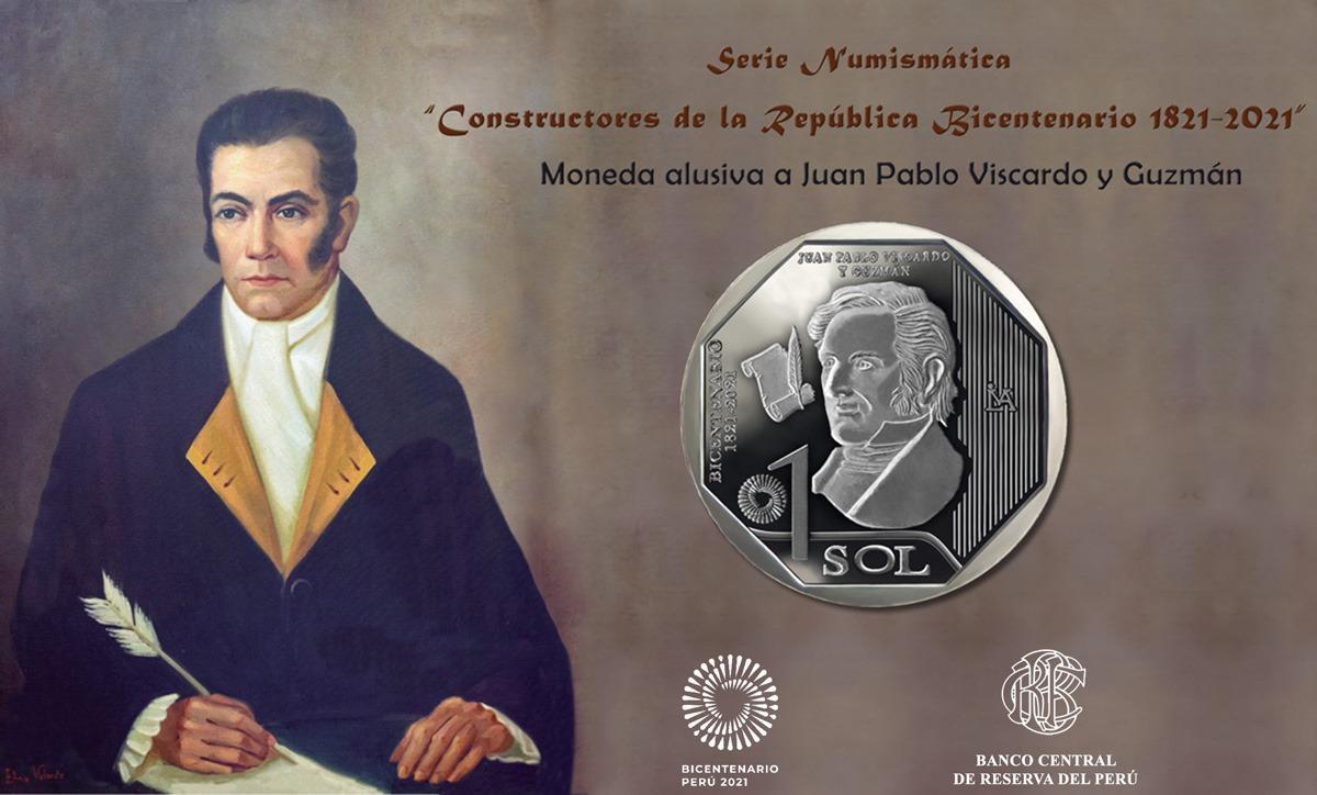 Juan Pablo Viscardo y Guzmán en moneda de S/ 1 de serie numismática del Bicentenario