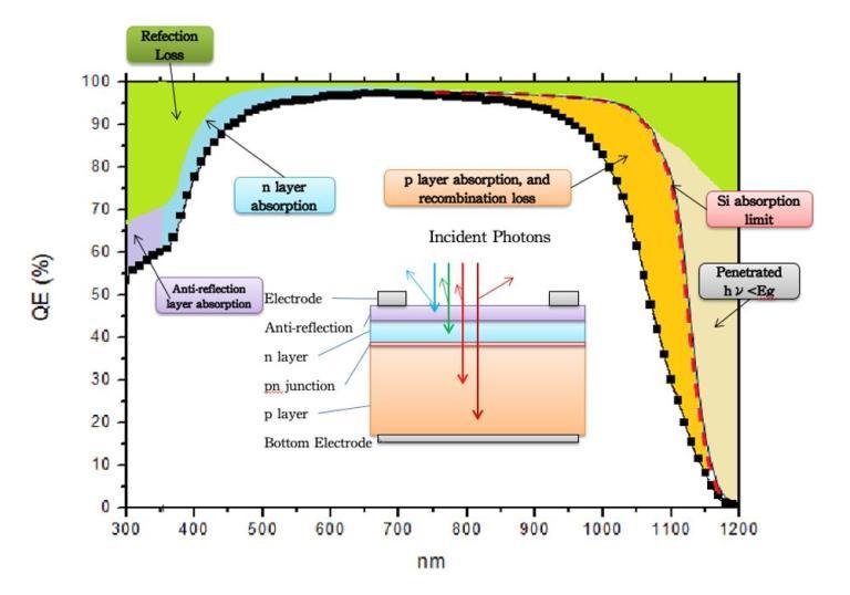 quantum efficiency spectrum silicon solar cell QE