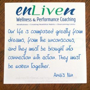"Enliven Wellness Life Coaching sticky note reading, ""Our lives are composed greatly from dreams, from the unconscious, and they must be brought into connection with action. They must be woven together."" Anaïs Nin"