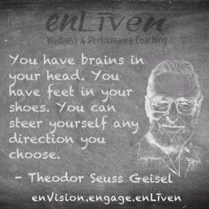 """Dr. Seuss quote on enLiven Wellness Coaching chalkboard reading, """"You have brains in your head. You have feet in your shoes. You can steer yourself any direction you choose."""""""