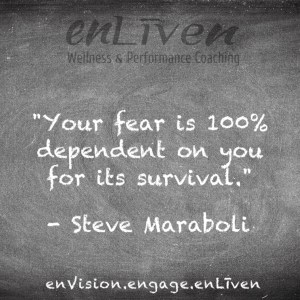 "Steve Maraboli on enLiven Wellness Coaching chalkboard reading, ""Your fear is 100% dependent on you for its survival."""