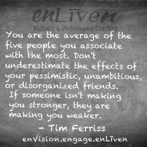 "Tim Ferriss quote on enLiven Wellness Coaching chalkboard reading, ""You are the average of the five people you associate with the most. Don't underestimate the effects of your pessimistic, unambitious, or disorganized friends. If someone isn't making you stronger, they are making you weaker."""