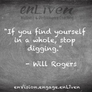 """Will Rogers quote on enLiven Wellness Coaching chalkboard reading, """"If you find yourself in a whole, stop digging."""" - Will Rogers"""