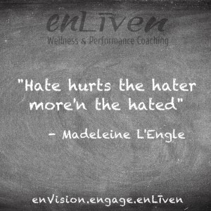"Quote on enLiven Wellness Coaching chalkboard reading, Hate hurts the hater more'n the hated."" - Madeleine L'Engle"