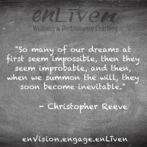 "Quote on enLiven Wellness Coaching chalkboard reading, ""So many of our dreams at first seem impossible, then they seem improbable, and then, when we summon the will, they soon become inevitable."" - Christopher Reeve."