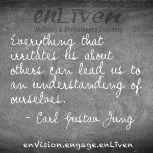 "Quote on enLiven Wellness Coaching chalkboard reading, ""Everything that irritates us about others can lead us to an understanding of ourselves."" - Carl Gustav Jung"