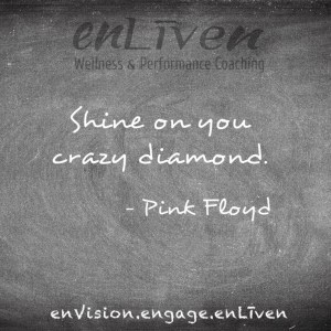 """Quote on enLiven Wellness Coaching chalkboard reading, """"Shine on you crazy diamond."""" - Pink Floyd"""