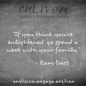 "Quote on enLiven Wellness Life Coaching chalkboard reading, ""If you think are enlightened, go spend a week with your family."" - Ram Dass. Life Coach Toledo Todd Smith Blissfield"