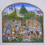 Enluminure illustrant le combat des trente