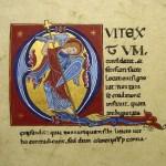 Lettrine Q - Saint Michel terrassant le dragon