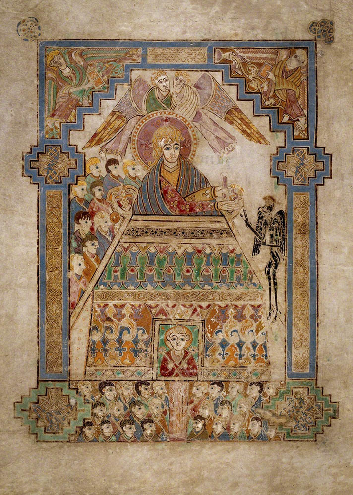 La tentation du Christ par Satan (folio 202 du livre de Kells).