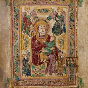 La vierge Marie et l'enfant Jésus, entouré par les anges (folio 7v du livre de Kells).