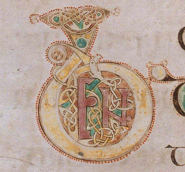 Initiale B du livre de Kells présente au folio 35r.