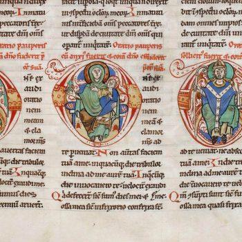 Bible d'Arnstein - Folio 40r - Initiales D (Domine) représentant le Christ, la vierge Marie et un évêque
