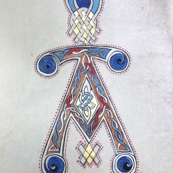Reproduction d'une initiale A présente au folio 116v du livre de Kells