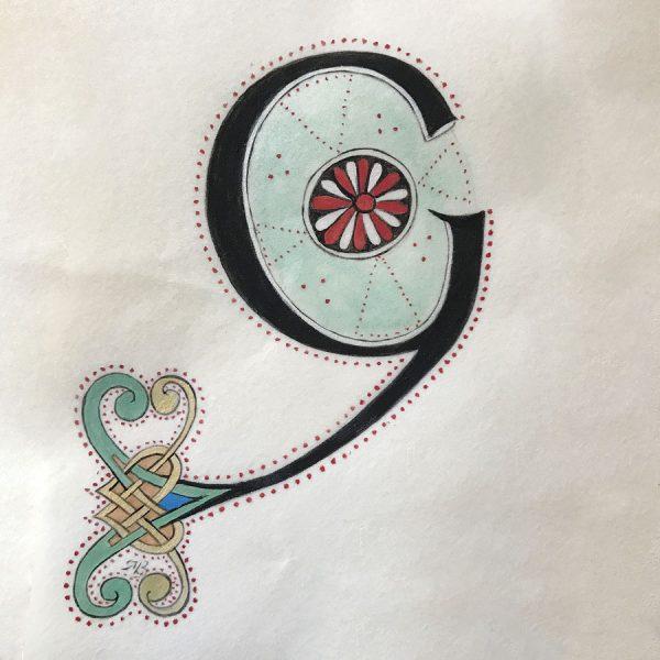 Création d'une initiale G inspirée des motifs du livre de kells.